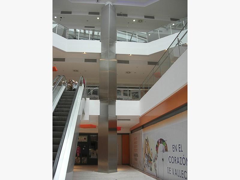 forrado columnas acero centros comerciales